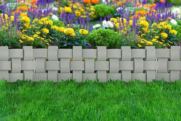 Декоративное ограждение «Плетёнка» (0,2 × 2,4 м, серый)