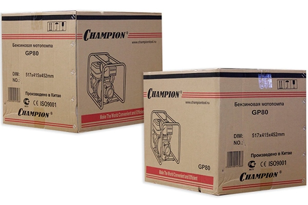 Упаковка мотопомпы CHAMPION GP80