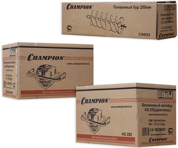 Упаковка бензобура CHAMPION AG-252